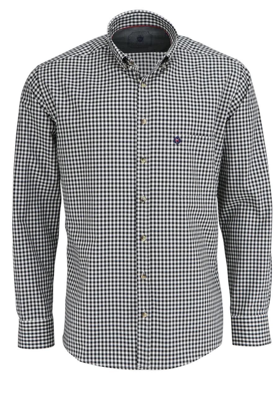 HATICO Regular Fit Hemd Langarm Button Down Kragen Karo black - Gr. M,L,XL,XXL