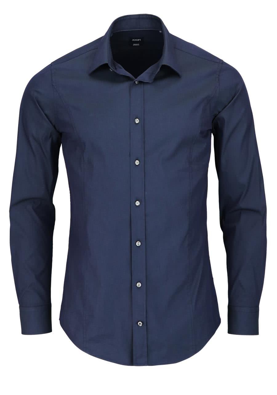 JOOP Slim Fit Stretch Hemd VICTOR Langarm New Kent Kragen nachtblau - Gr. 39,40,