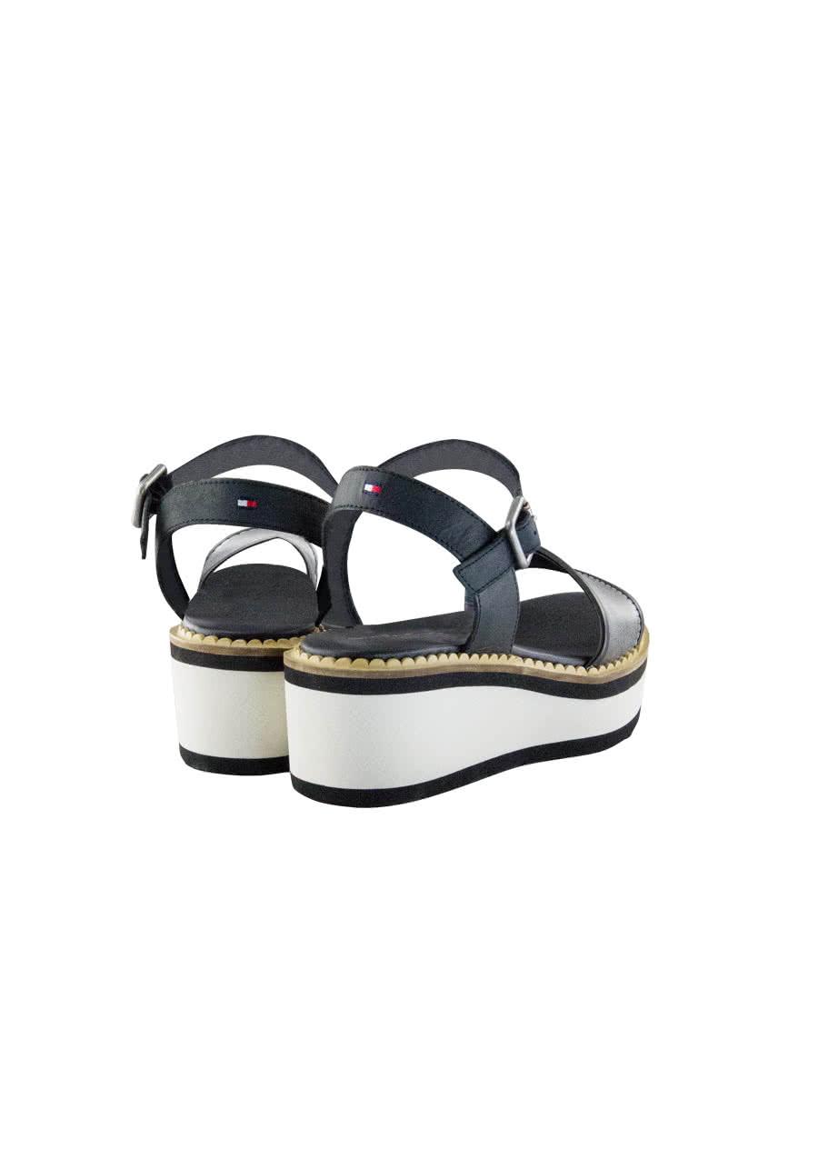 tommy hilfiger sandalette katya metallic effekt plateausohle schwarz gr 40 ebay. Black Bedroom Furniture Sets. Home Design Ideas